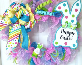 Easter Wreath, Easter Bunny Wreath, Spring Wreath, Easter Mesh Wreath,  Bunny Mesh Wreath, Easter Decor, Deco Mesh Wreath
