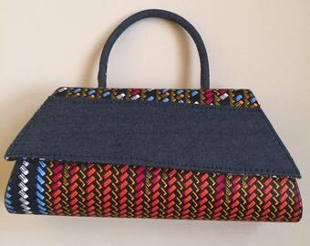Pouch ethnic mid-denim mid wax with shoulder strap