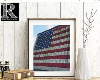 20% OFF Printable Instant Download American Flag Painted on Barn Country Photo American pride USA flag Old Glory Red White and Blue Barn Pho