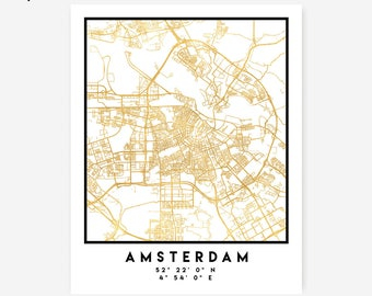 Amsterdam Map Coordinates Print - Holland City Street Map Art, Gold Amsterdam Map, Dutch Amsterdam Coordinates Netherlands Poster Map Oranje