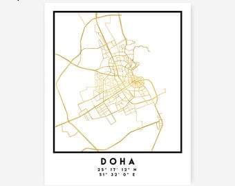 Doha Map Coordinates Print - Qatar City Street Map Art Poster, Gold Doha Map Print, Doha Qatar Coordinates Arabic Poster Map