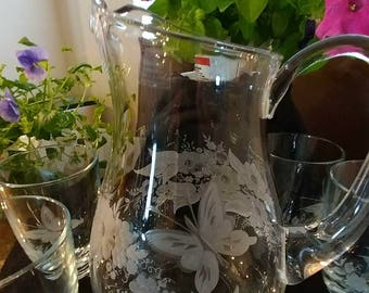 Hand Engraved Butterfly Theme Pitcher and Drinking Glasses: Set of Six