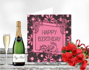 Birthday, Printable Cards, Greeting Cards,  Birthday Card Topper.  Print Yourself.  CU4CU