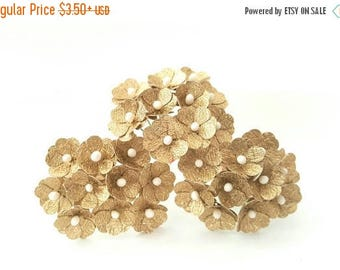 Gold paper flowers / Gold flowers / small gold flowers / golden flowers / gold glitter flowers / gold flowers small