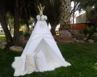 White Vintage teepee, kids Teepee, tipi, Play tent, wigwam or playhouse with canvas and Overlapping front doors