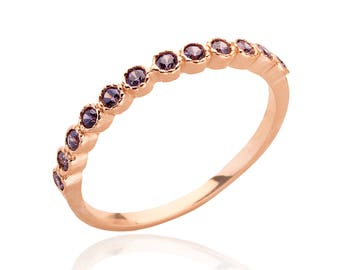 Rose gold ring Stacking multistone ring everyday amethyst gemstone ring birthstone ring gold jewelry for women thin delicate ring