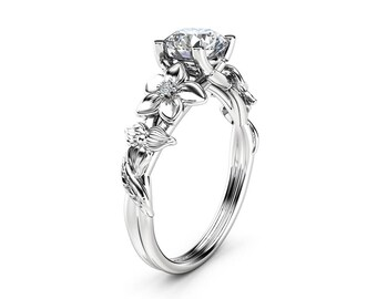 Moissanite Engagement Ring 14K White Gold Moissanite Ring Unique Flower Design