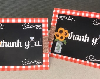 "20 thank you cards "" i do bbq theme"""