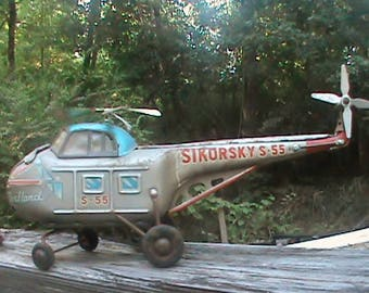 Vintage Alps tin friction powered Westland Sikorsky S-55 Helicopter , parts or repair