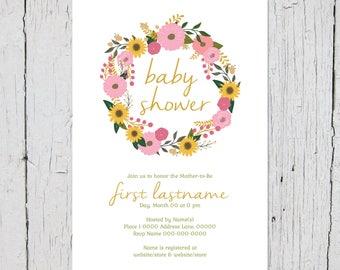 Round Floral Bouquet Baby Shower Invites