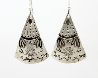 Sterling silver dangle earrings stamped rustic silver drop earrings