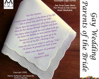 Gay Wedding ~ Parents of the Bride Gifts  L114 Title, Sign & Date for Free!  Wedding Hankie Poem Printed Handkerchief Mrs. and Mrs.