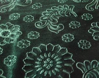 Beautiful Green Floral Embossed Fabric Des.5  Sold By the Yard