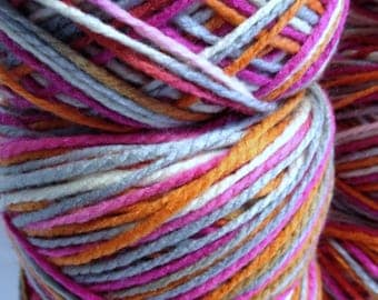 Colorful Chunky Yarn Thick Sleek Yarn Texture Bright Variegated Yarn for Crafting Rewound Yarn Cakes for Quick Knitting and Crocheting