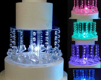 Baby Bootie Acrylic Crystal Cake Stand With LED Light & Baby Bootie Print Hanging Pendants for Baby Shower, Reveal Party Baby