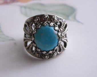 Vintage Sterling Silver Filigree Blue Turquoise Ring (6.5) Unmarked Tested 925