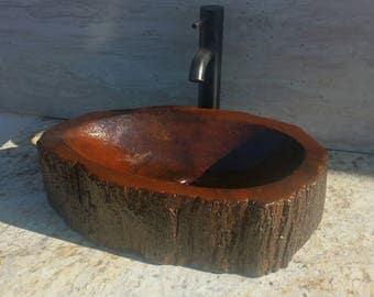 Concrete log sink with metallic epoxy finish rustic cabin bathroom art decor teak bamboo cedar basin vessel vanity chic shabby contemporary