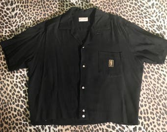 1950s tiki men's shirt- black