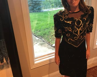 XL VTG Black and Gold Silk Sequin Dress