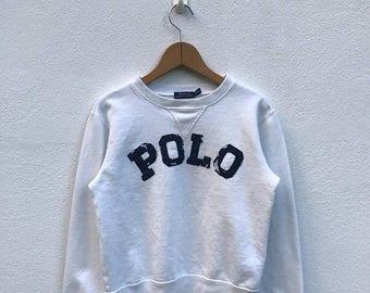 20% OFF Vintage Polo Ralph Lauren Sweatshirt/Polo Big Logo/Polo Spell Out/Ralph Lauren Shirt/Polo Sport/Polo Tennis/Polo White Sweater