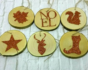 Set of 6 wooden Christmas ornaments! Slices of wood for Christmas decoration
