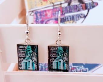 Gift - Gift earring - Montreal Art City blue Earrings