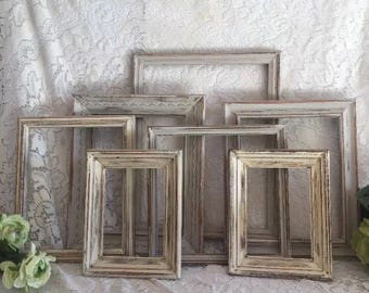 Farmhouse wall decor distressed frames Lot of 7 cream hand painted Vintage