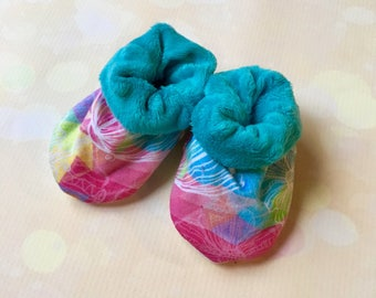 Soft Sole 0-6 Month Baby Booties in Rainbow Floral with Teal Minky Lining Baby Girl