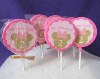 12 Minnie Gold pink or black #2 chocolates lollipops