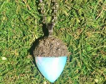 Opalite Acorn Pendant Necklace