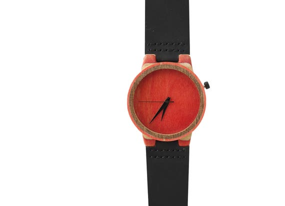 7PLIS watch #077 Recycled SKATEBOARD #madeinfrance red brown green black