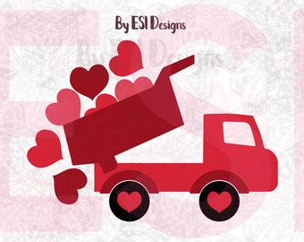 Valentine Truck svg, Heart svg, Valentines Day svg, Love svg, SVG, DXF, EPS,  for use with Silhouette Cameo and Cricut Explore.