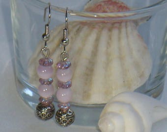 Silver earrings pink and purple