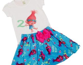 Girl Troll  birthday outfit Girl Poppy Troll  outfit Toddler Poppy outfit Poppy shirt skirt babyTroll outfit Girl outfit Girl dress