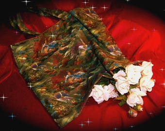 Thomas KINKADE theme designer fabric tote bag