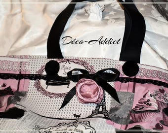 Beautiful tote bag themed pastries - black leather - pink grey and black handles