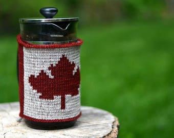 Canada Flag French Press Coffee Cozy, Knit Wool Canada Day Coffee Press Cover, Canada 150