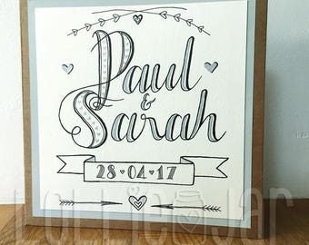 Hand Drawn Personalised Typography Wedding Card