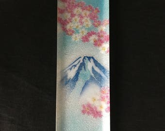 Japanese Cloisonne Ginbari Foil Dish with Cherry Blossoms and Mount Fuji
