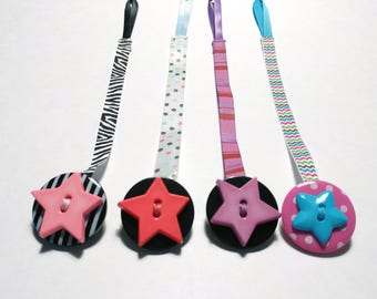 Pacifier clip/button ribbons lady bugs & butterflies