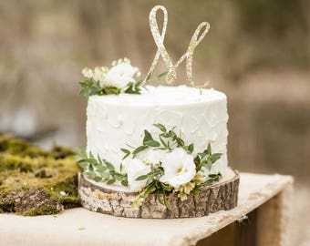Single Letter Monogram Wedding Cake Topper With Your Initial Custom Personalized