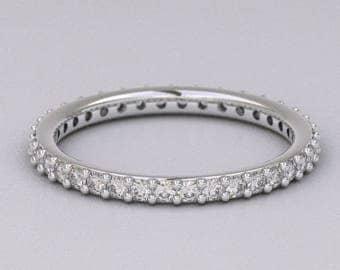 18k White Gold 950 Platinum 1 ct Carat Round Diamond Eternity Wedding Ring Band Stackable Engagement G VS