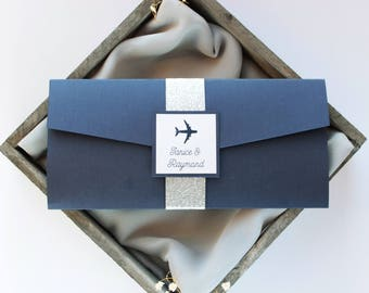 Destination Wedding Invitation, Boarding Pass Invitation, Navy Blue Wedding Invitation, Airplane Invitation, Pocket Fold Wedding Invitation