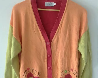 Rare Vintage United Colors Of Benetton Women Cardigan Shirt Size M