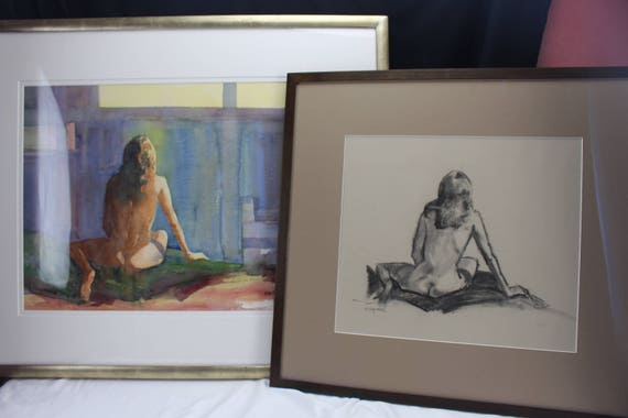 Modern Art Watercolor & Study Nude Woman Fine Art Home Decor by Simpson