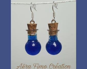 """Earring """"Blue glass bottle"""""""