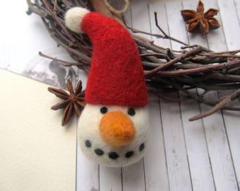Needle felt snowman Christmas decoration Snowman figurine Christmas decor Holiday gift Snowman ornament Snowman decor Felt christmas Winter