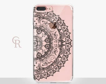 Mandala iPhone 8 Plus Clear Case - Clear Case - For iPhone 8 - iPhone X - iPhone 7 Plus - iPhone 6 - iPhone 6S - iPhone SE Transparent