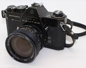 Asahi Pentax Spotmatic II 35mm Film SLR Camera with two lenses and case - Tested and working c. 1971