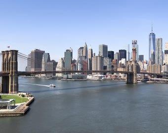 New York Photography, New York Skyline, Brooklyn Bridge, Lower Manhattan Skyline, New York Wall Art, Big Apple, New York Skyline on Canvas